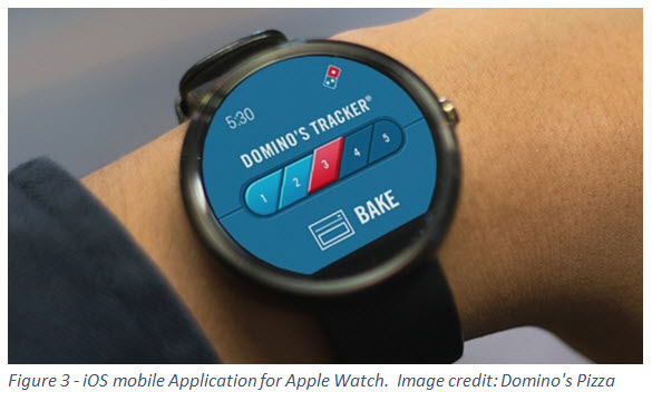 Figure 3 - iOS mobile Application for Apple Watch. Image credit: Domino's Pizza