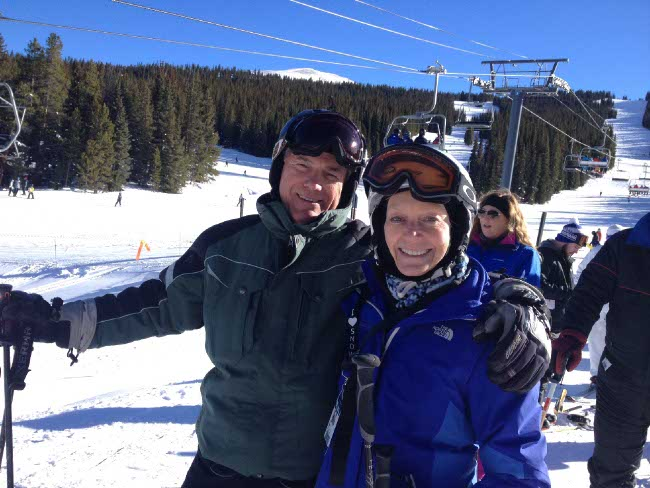 Photo of me and my significant other on the slopes in Colorado